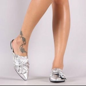 Shoes - Silver oversized bow flats